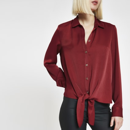 Red tie front loose shirt