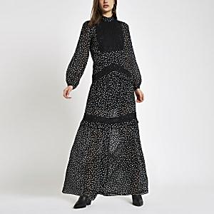 Black print lace insert maxi dress