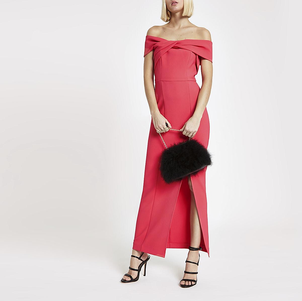 Pink bardot bodycon maxi dress