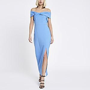 Blue bardot bodycon maxi dress