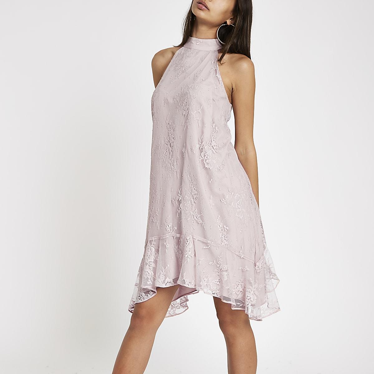 1c676c0e1bd09 Pink lace frill hem halter neck swing dress - Swing Dresses - Dresses -  women