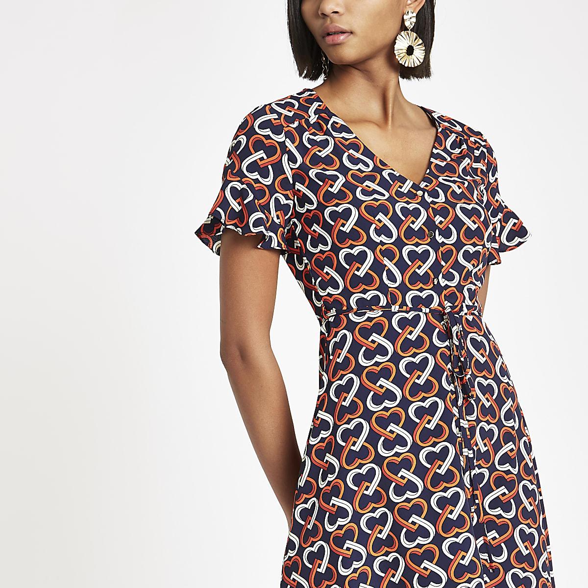 753af35ea9d3 Navy heart print tie waist tea dress - Swing Dresses - Dresses - women