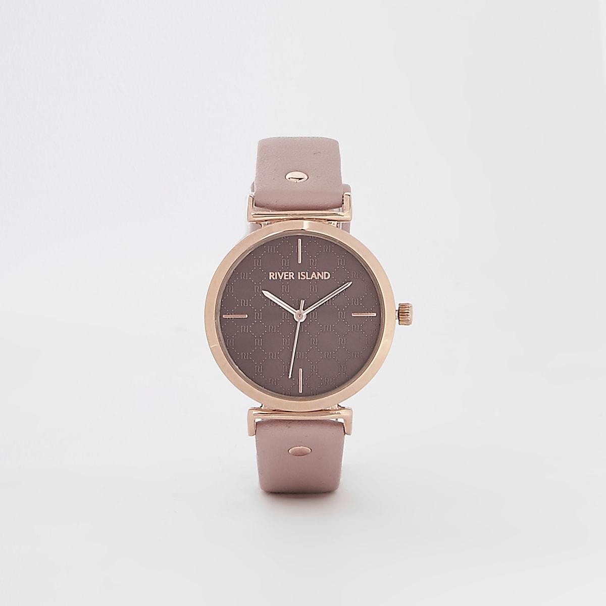 Pink rose gold tone RI face watch