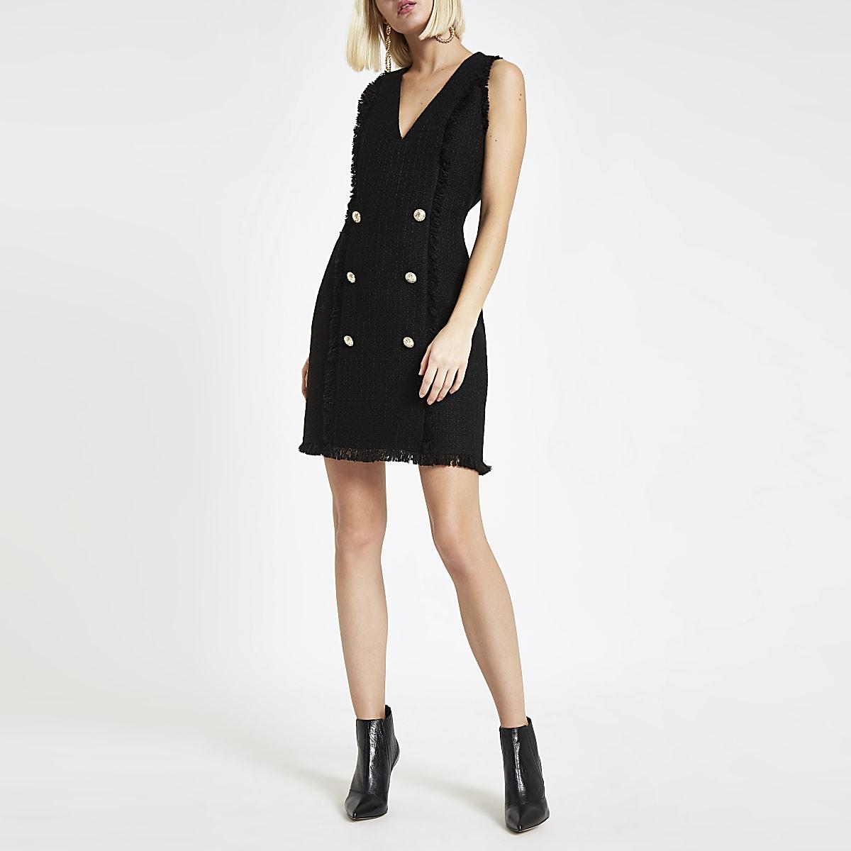 Black boucle fringe trim mini dress