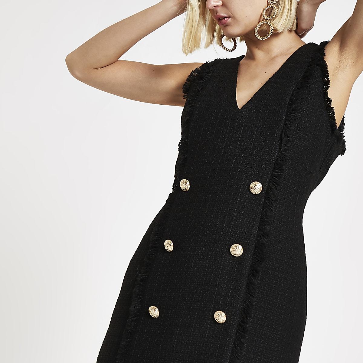 517dc927ad4d Black boucle fringe trim mini dress - Bodycon Dresses - Dresses - women
