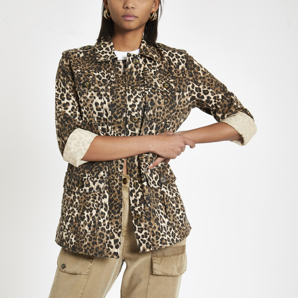 Brown leopard print army jacket