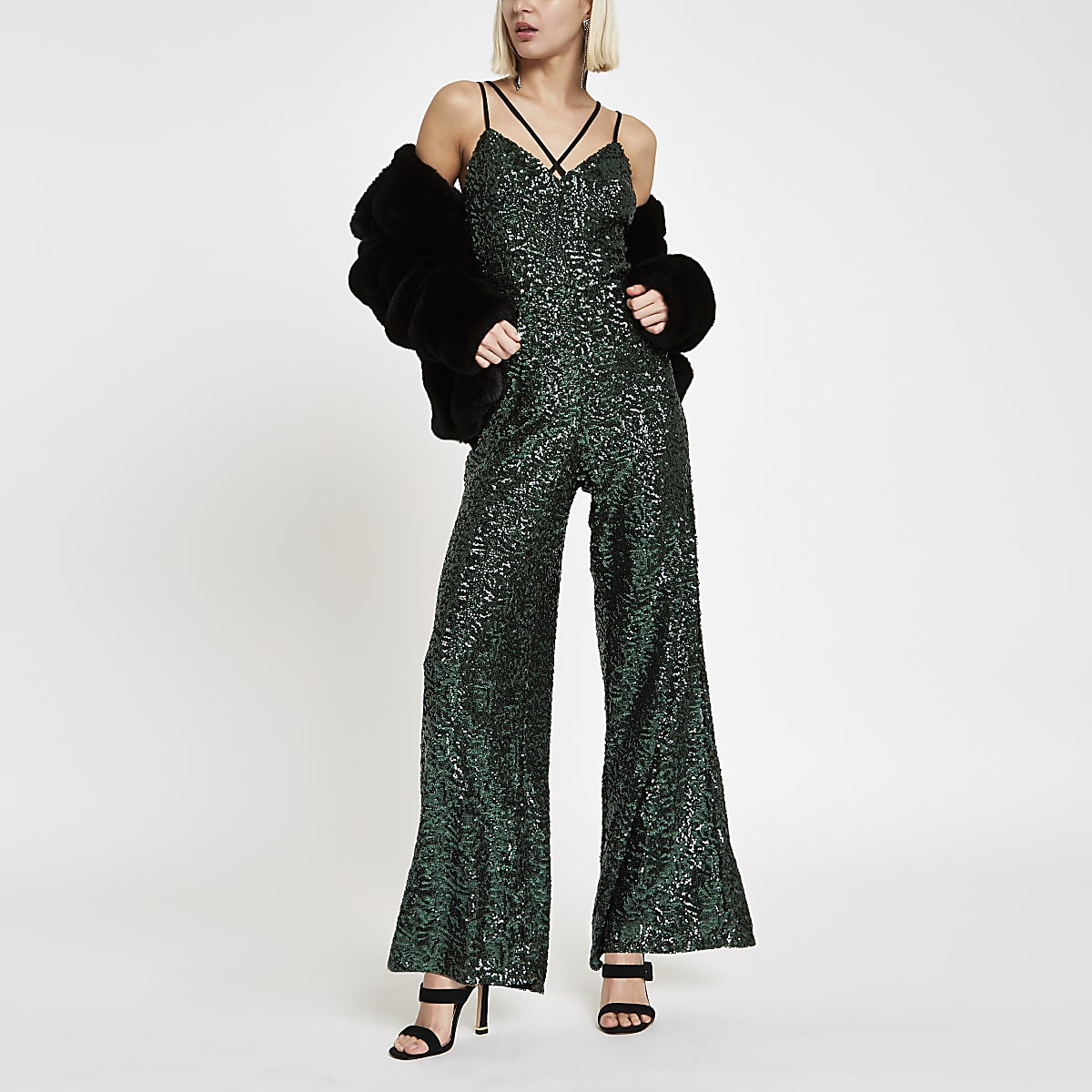Green sequin cami strap jumpsuit