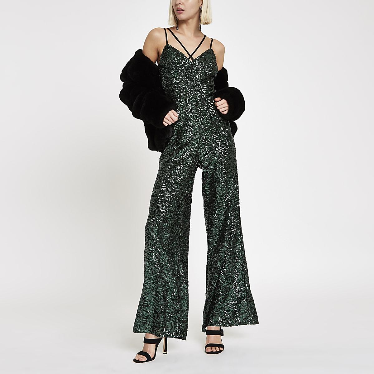 Green sequin cami strap jumpsuit