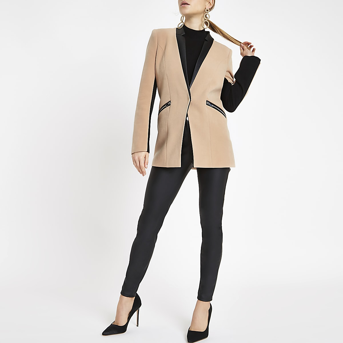 Light brown zip pocket blazer
