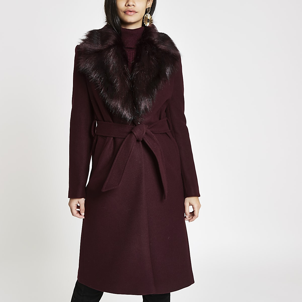 Dark red faux fur trim belted robe coat