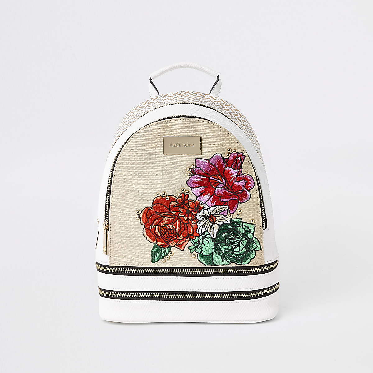 White floral embroidered double zip backpack