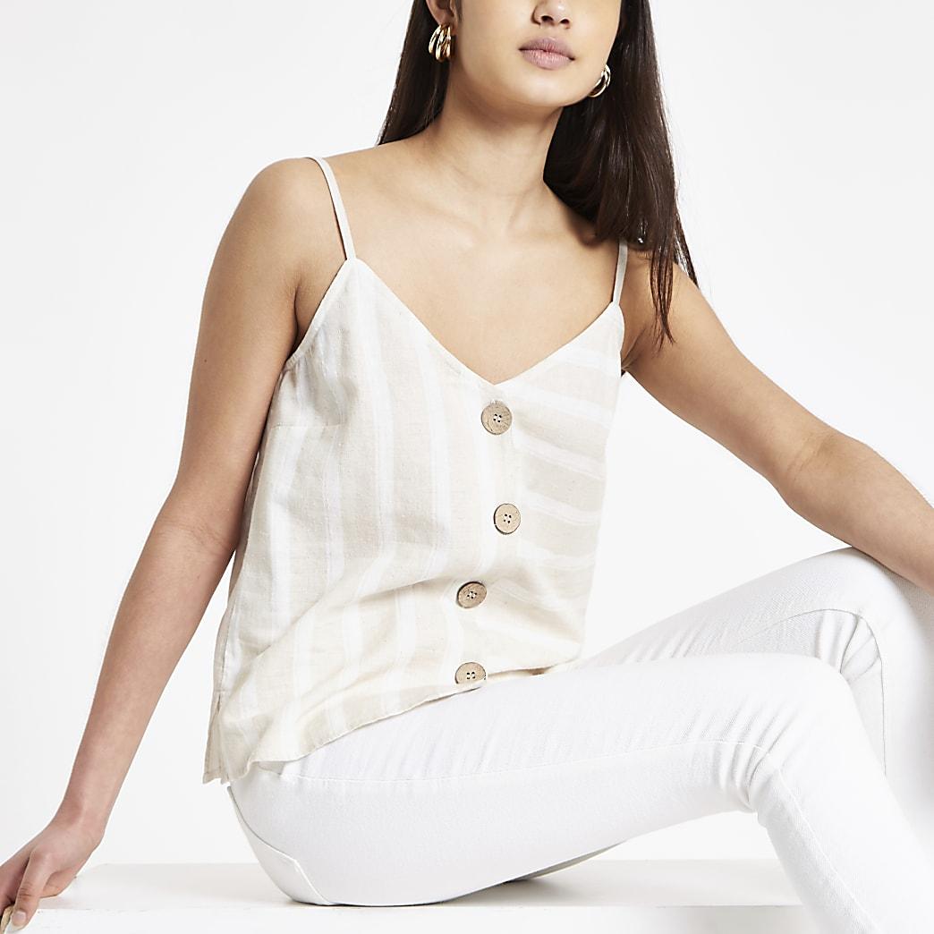 Light brown stripe button front vest top