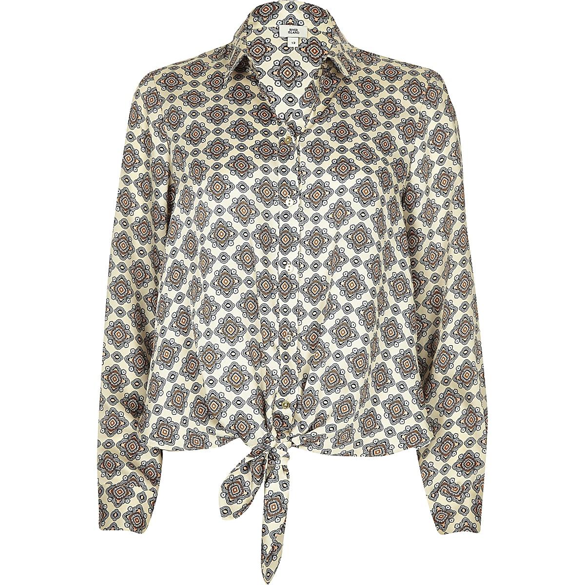 Overhemd Creme.Creme Overhemd Met Print En Strik Voor Overhemden Tops Dames