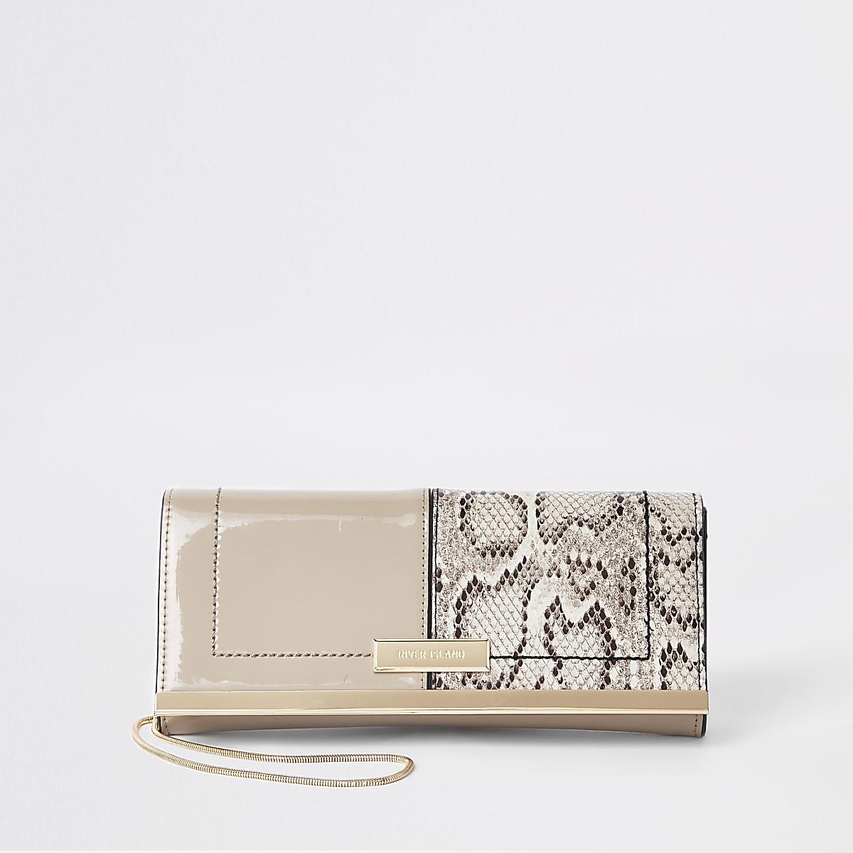 Beige patent snake print baguette clutch bag