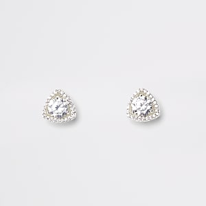 Silver plate cubic zirconia triangle earrings