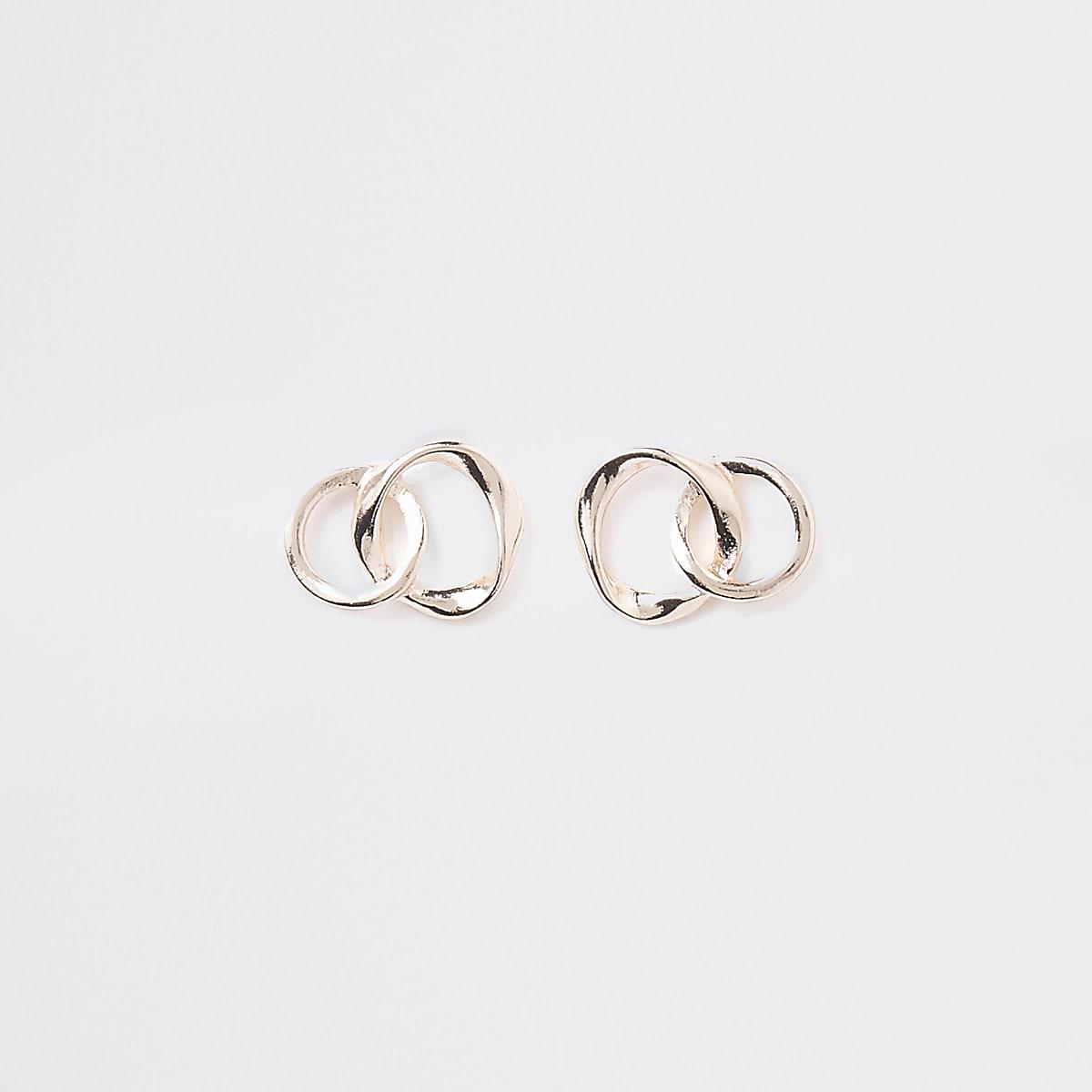 Rose gold wavy interlink stud earrings