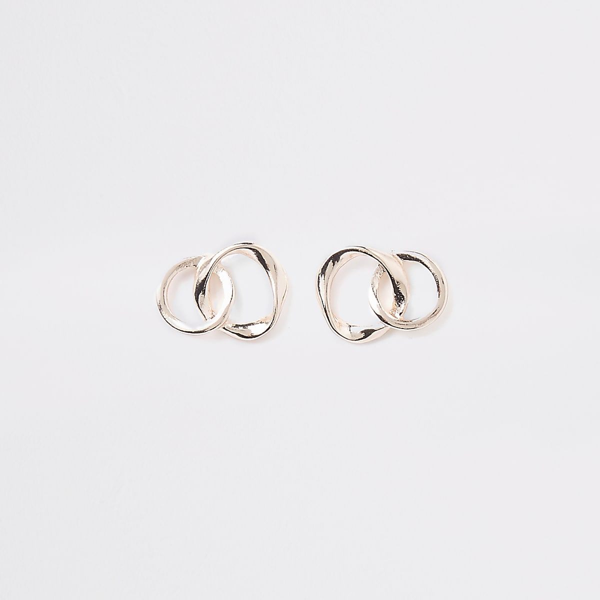 Rose gold wavy interlink stud earrings