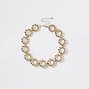 Gold colour twisted ring choker
