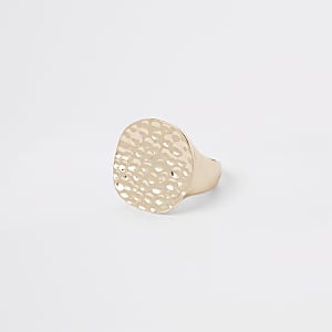 Gold colour chunky battered disc ring