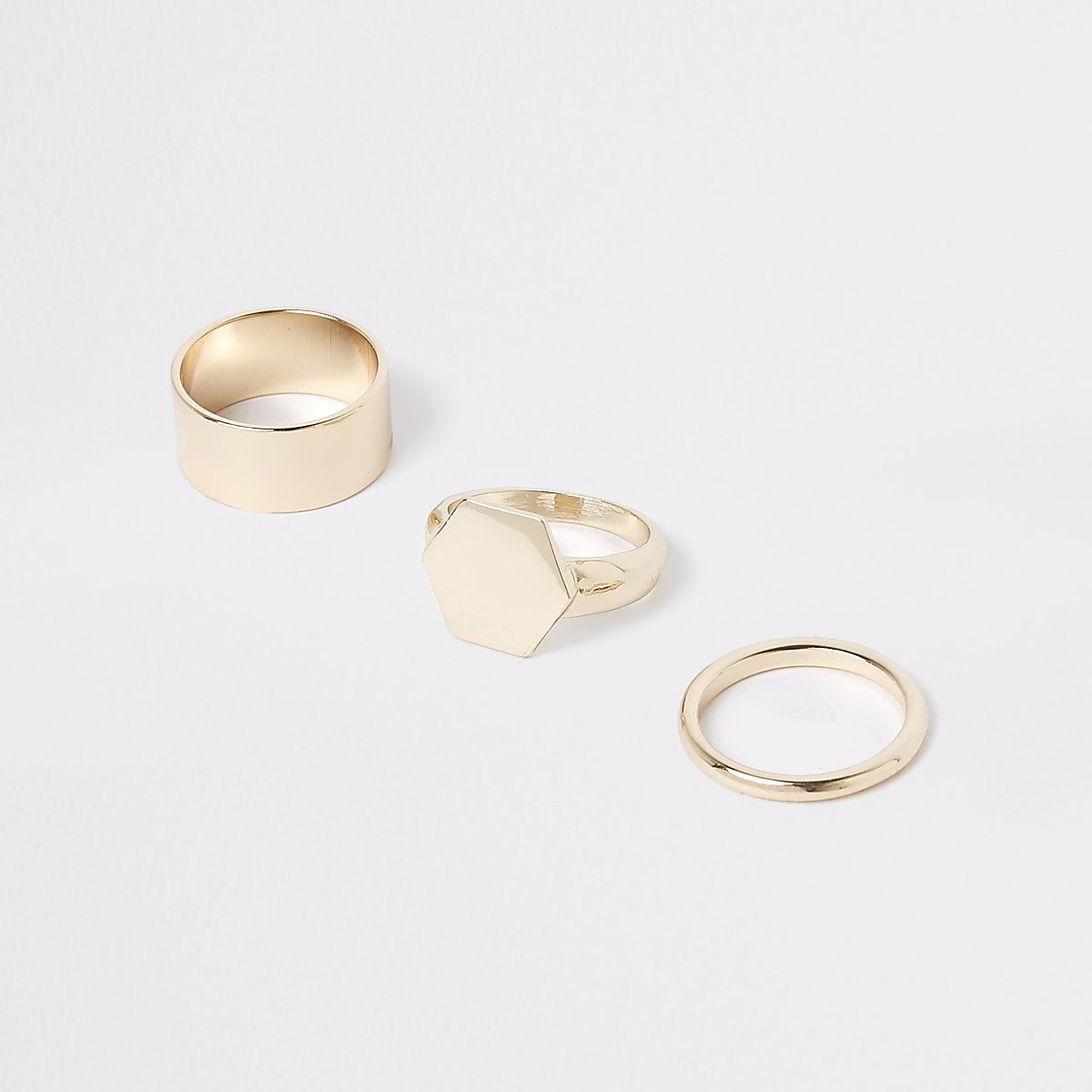 Gold color chunky hexagon ring pack
