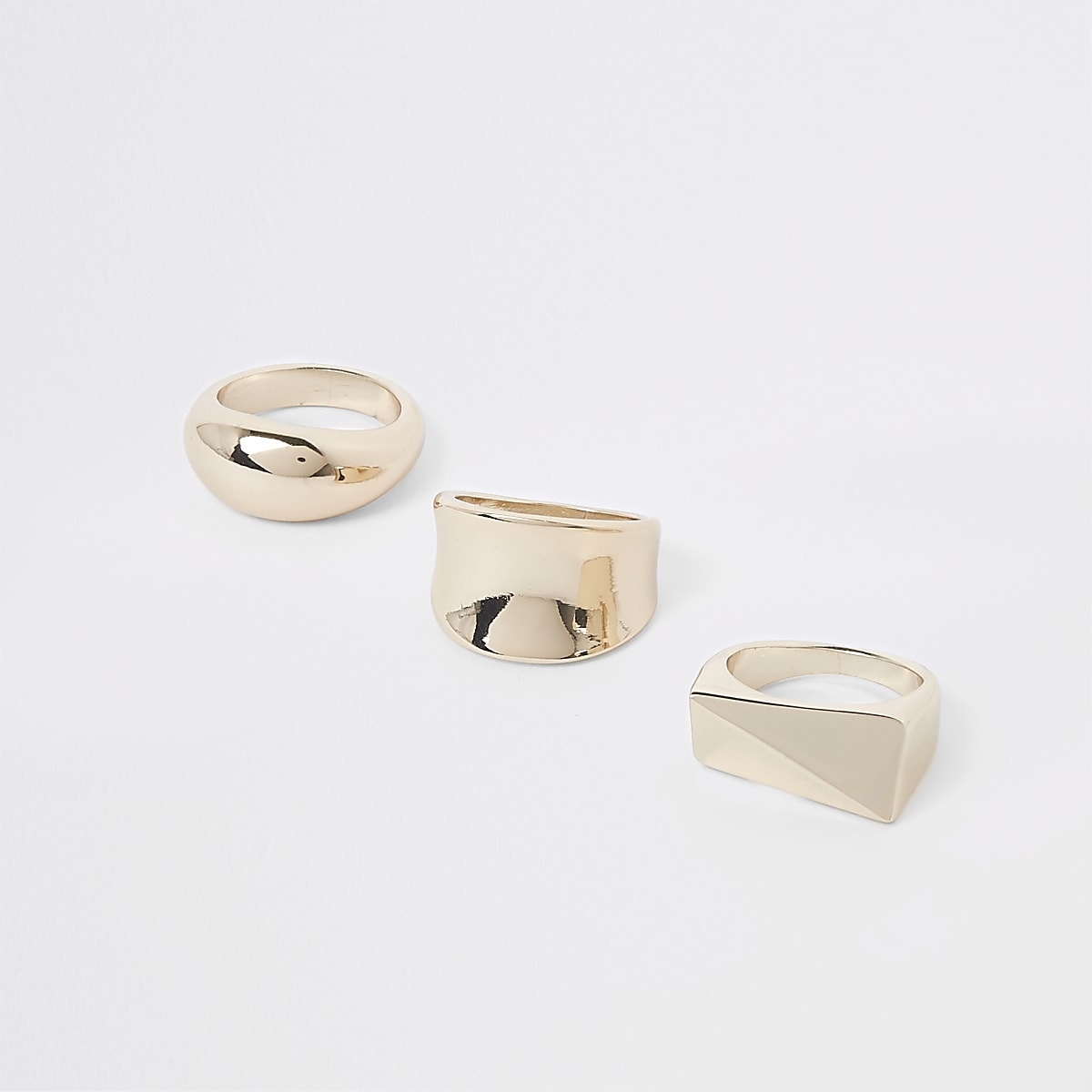 Gold tone chunky ring pack