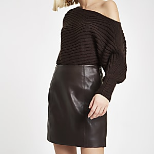 Dark brown leather side zip mini skirt