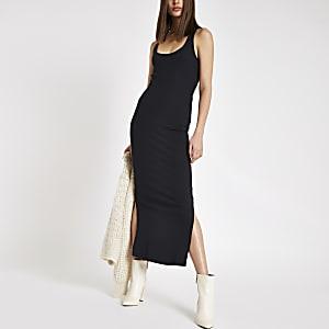 Zwarte geribbelde bodycon maxi-jurk