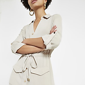 Beige utility midi shirt dress