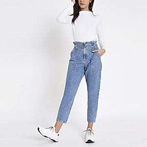Middenblauwe jeans met ingesnoerde taille