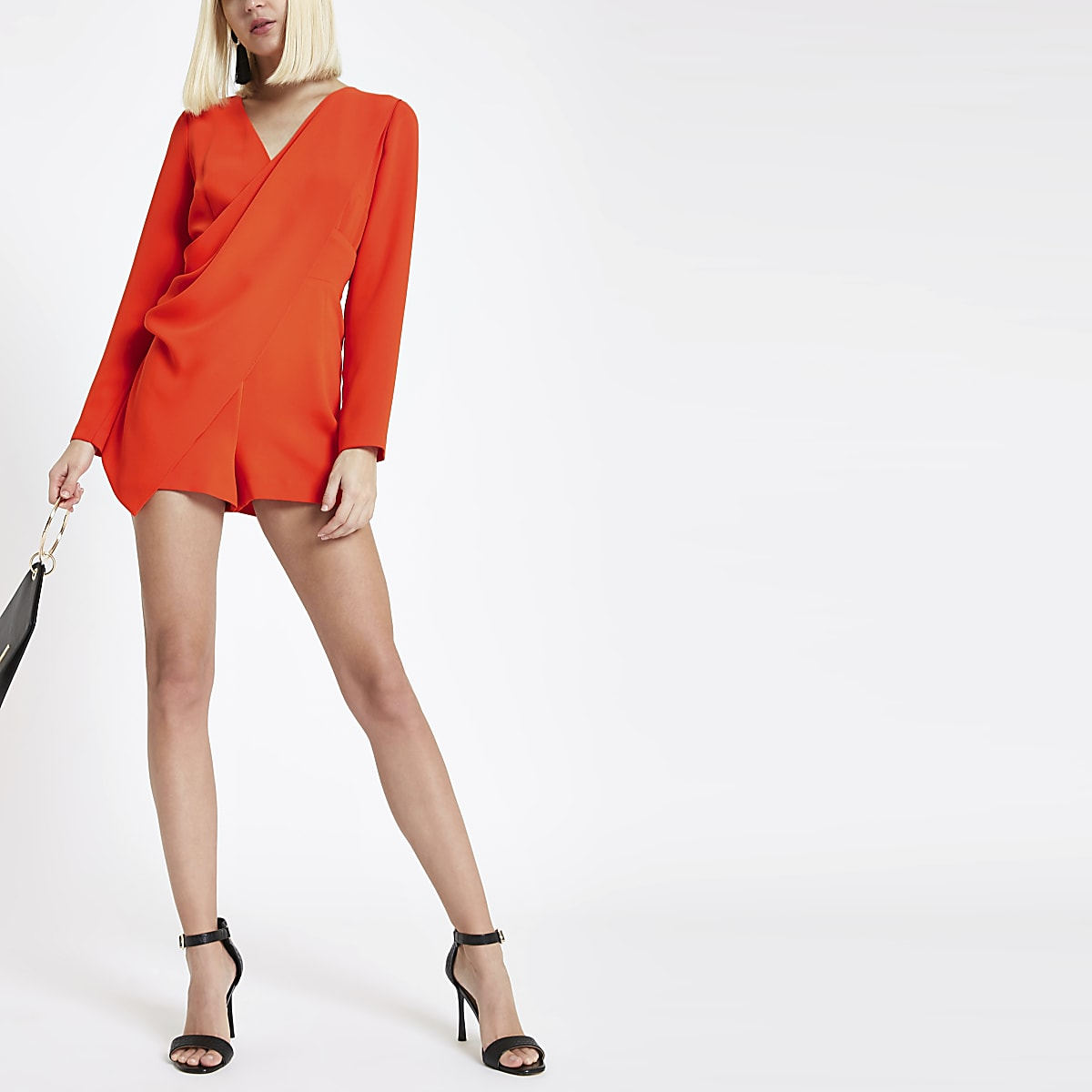 Red wrap front long sleeve romper
