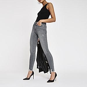 Amelie - Grijze superskinny jeans met onafgewerkte zoom