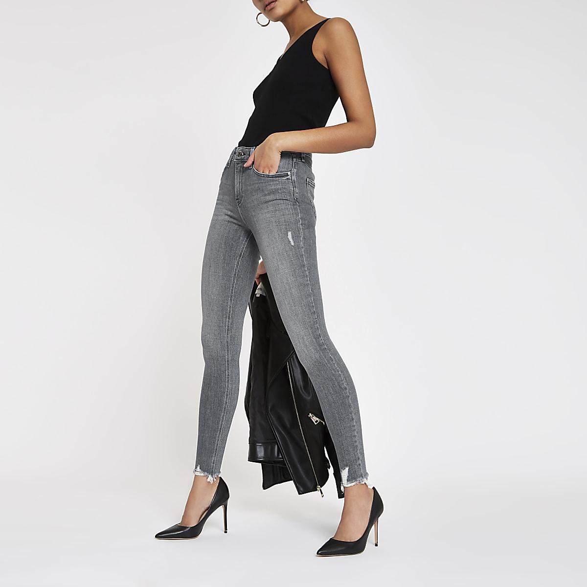 Grey Amelie super skinny fray hem jeans