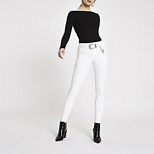 Amelie – Jean super skinny blanc cassé à ceinture