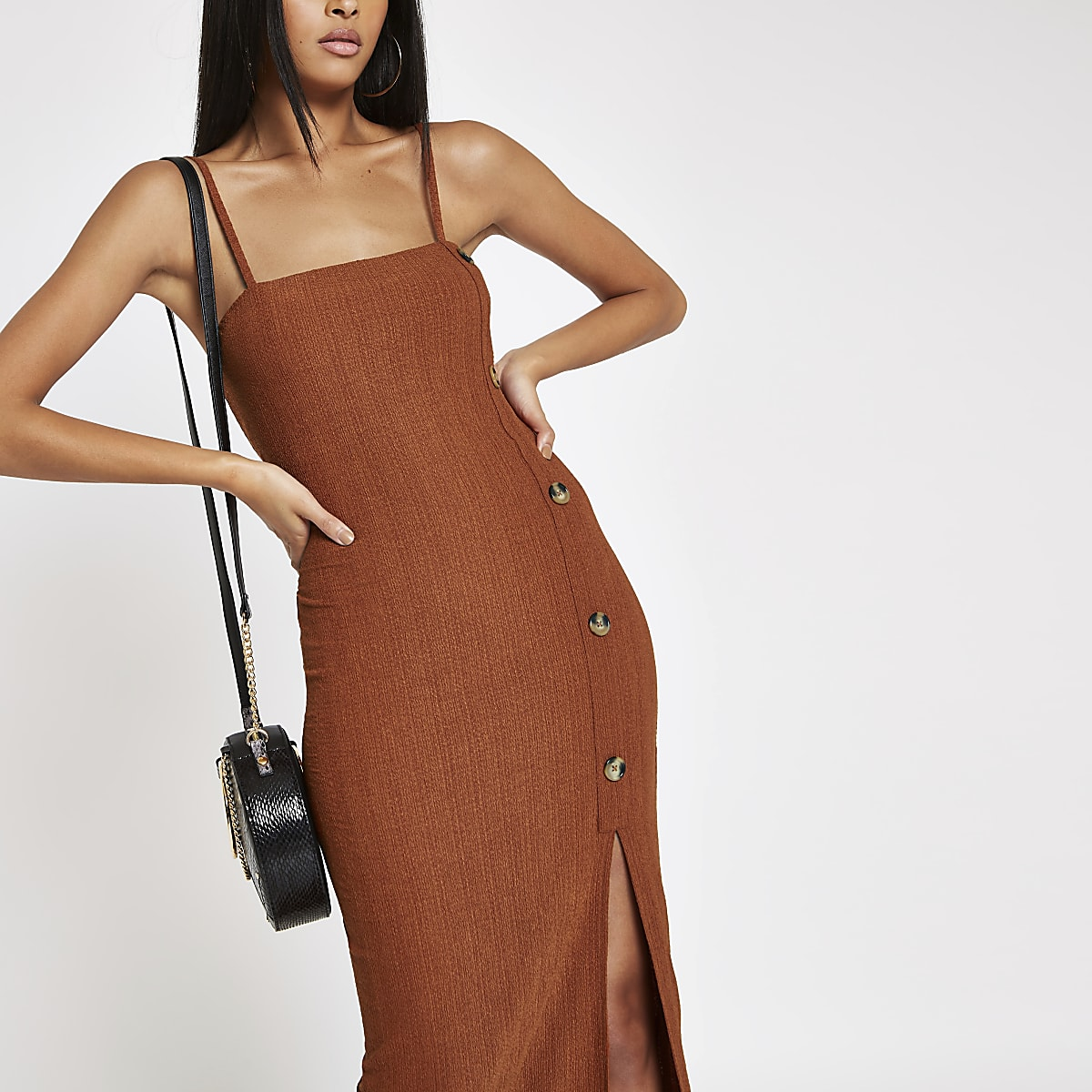 Rust button through maxi slip dress