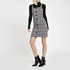 Red check button up pinafore mini dress