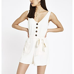 White button front tie waist playsuit