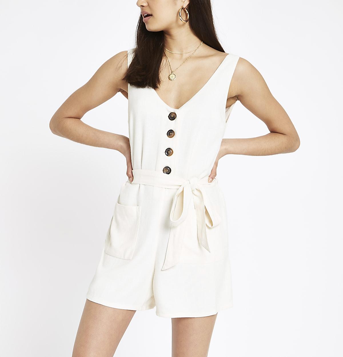 White button front tie waist playsuit