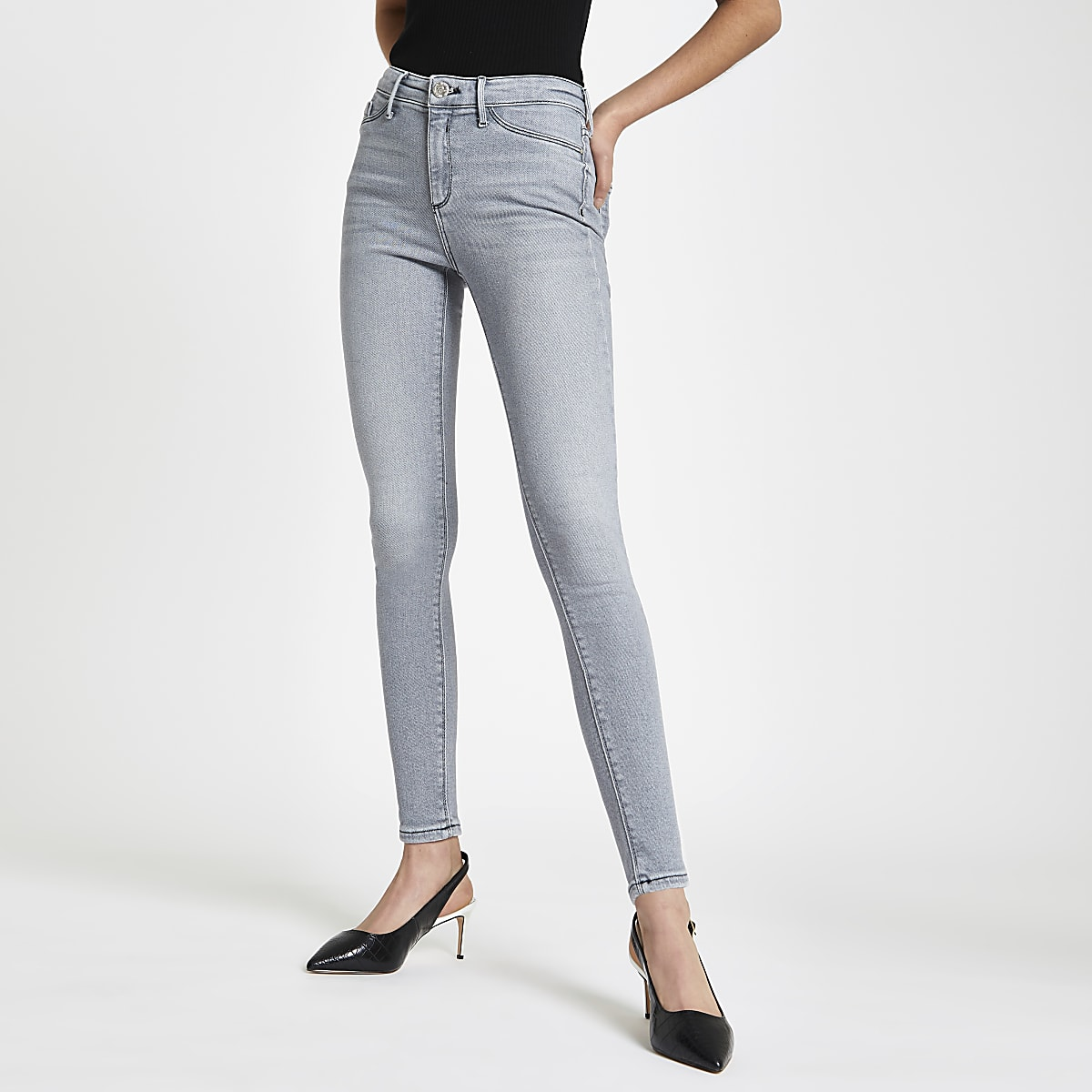 Grey Molly contrast mid rise jeggings