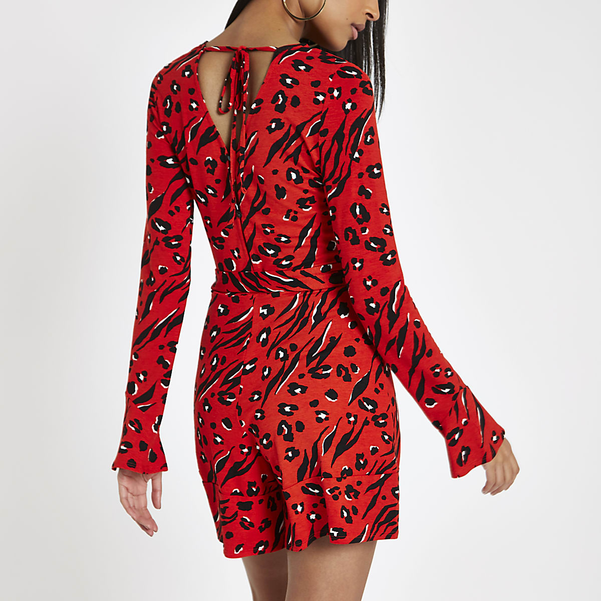 7b83134635dc Red animal print long sleeve playsuit - Playsuits - Playsuits ...