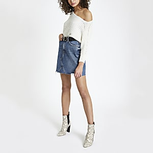 Blue fray hem denim mini skirt