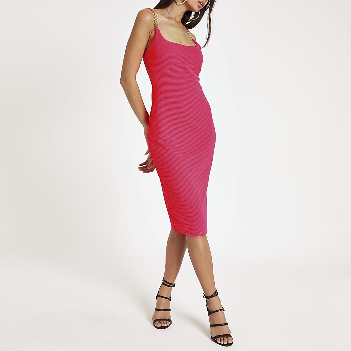 Bright pink rib diamante trim bodycon dress