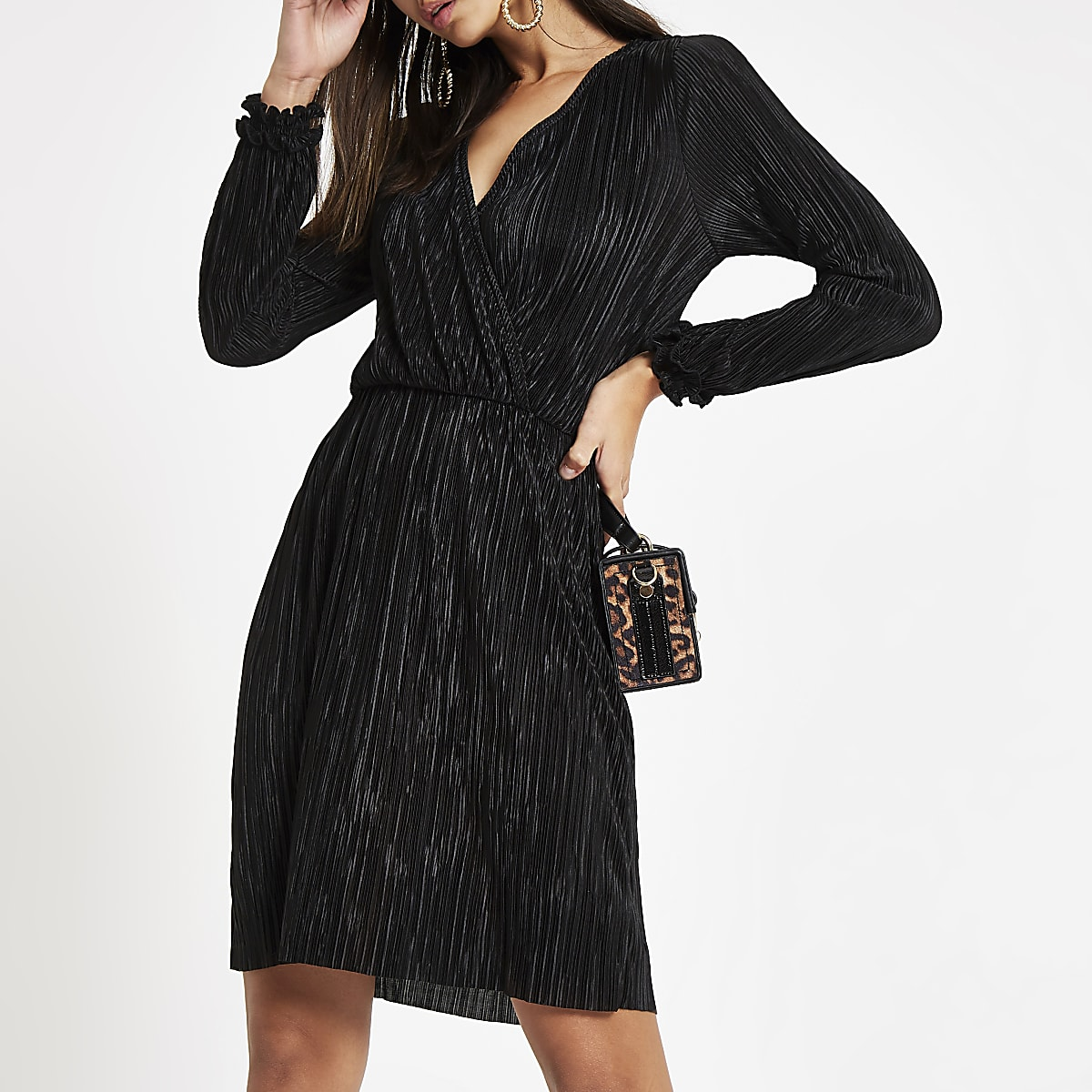 Black plisse wrap front mini dress
