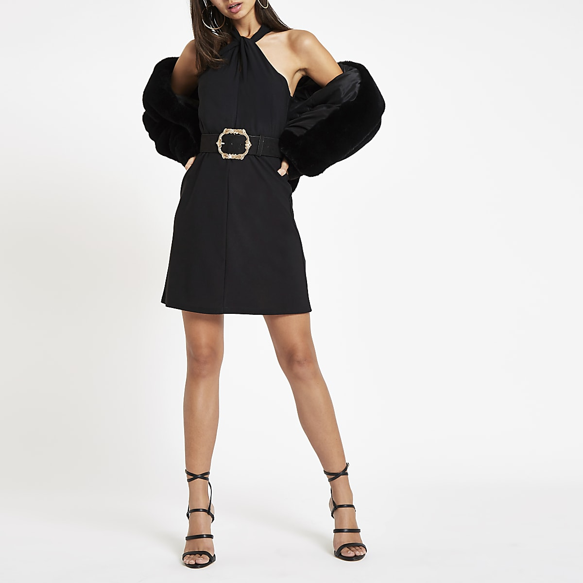 Black wrap neck mini swing dress