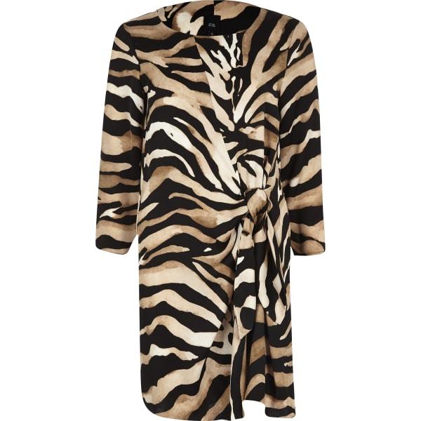 River Island - robe évasée à imprimé zèbre marron nouée - 5