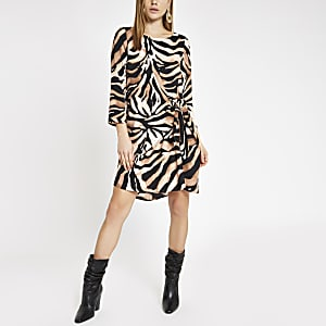 Brown zebra print tie front swing dress
