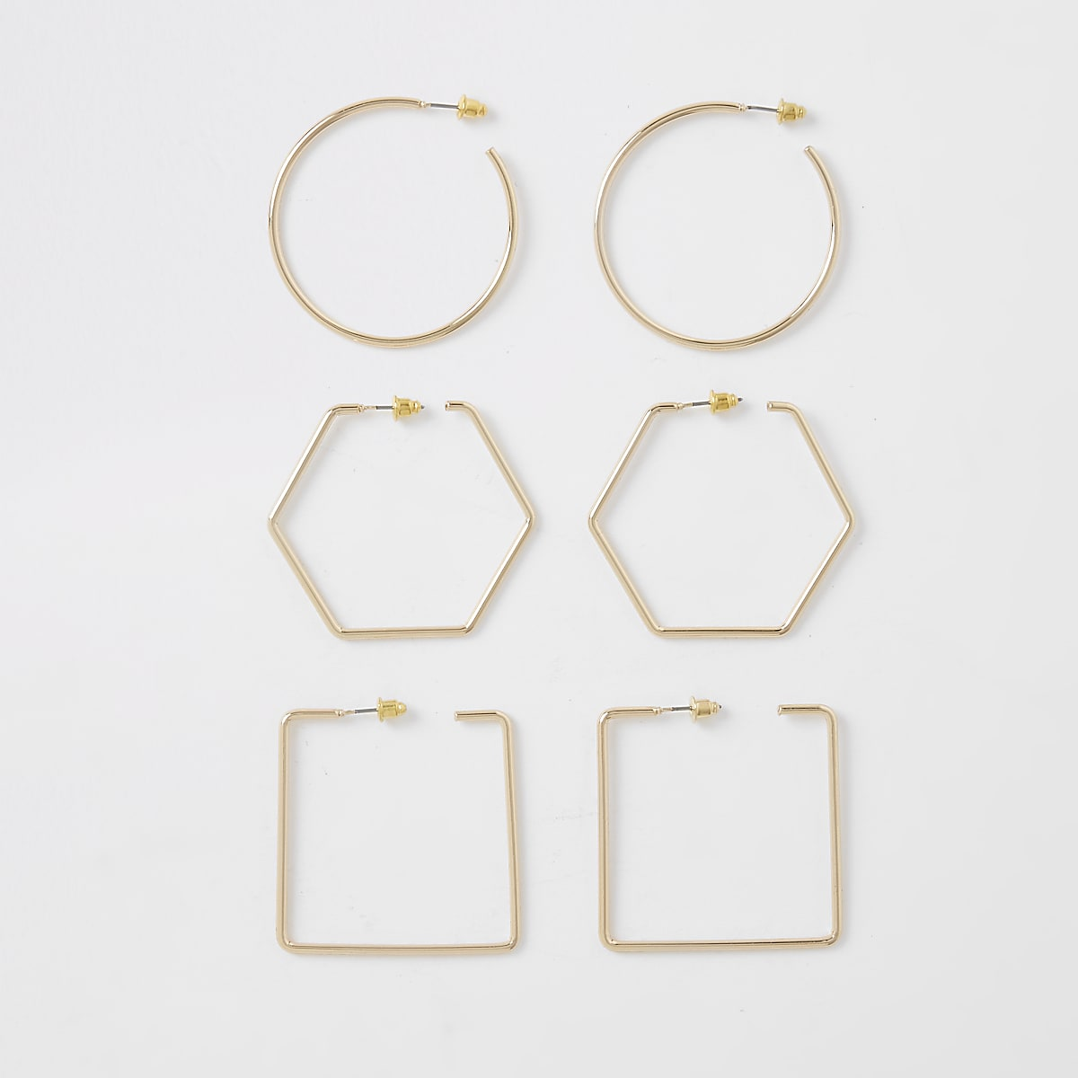 Gold color mixed shapes hoop earrings pack