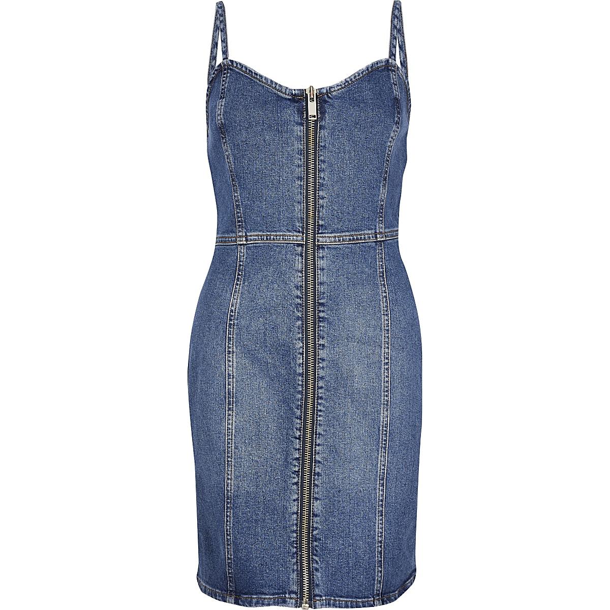 ab8346957de Home · Women · Dresses  Mid blue denim pinafore dress. Mid blue denim  pinafore dress ...
