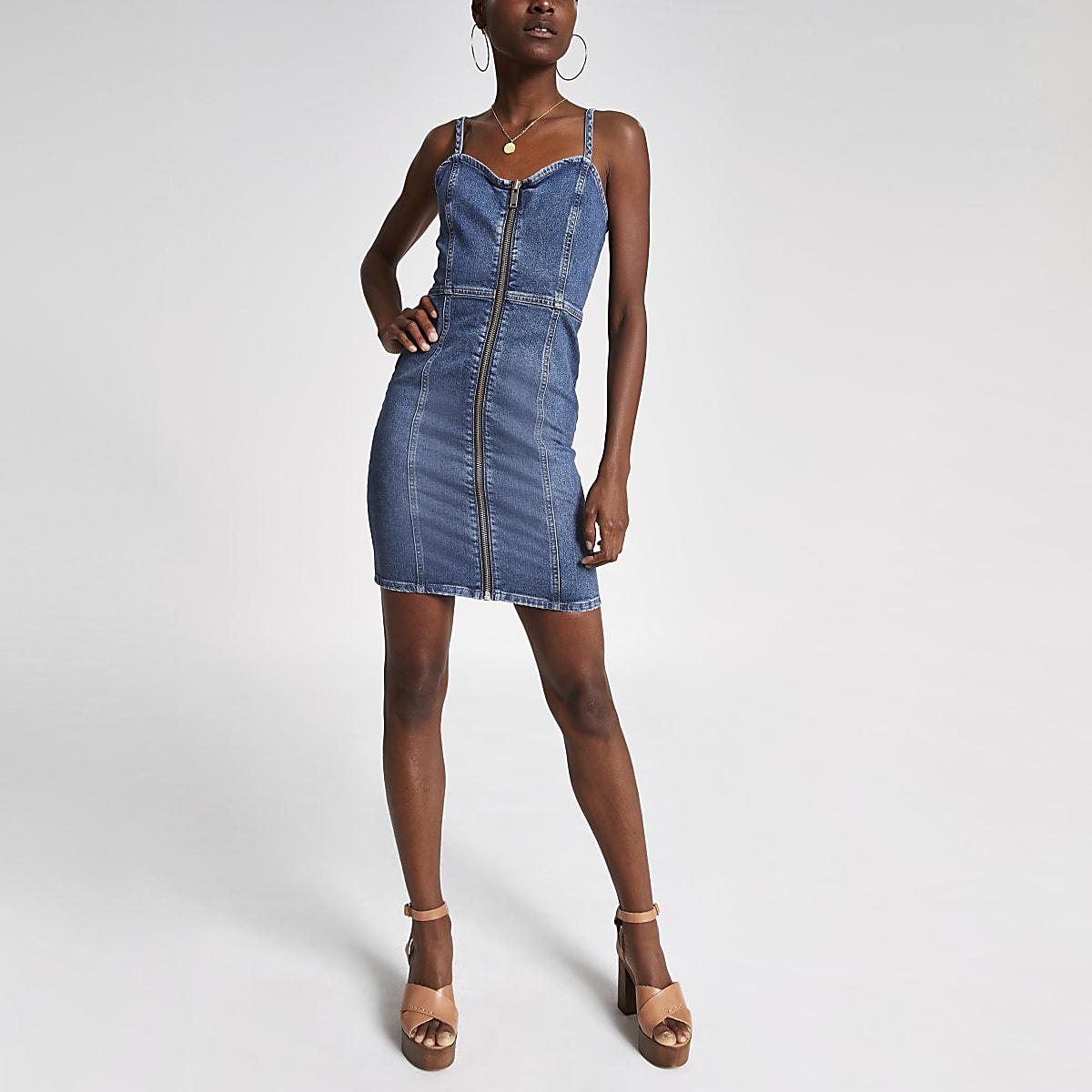 7f622f76c60 Mid blue denim pinafore dress - Slip   Cami Dresses - Dresses - women