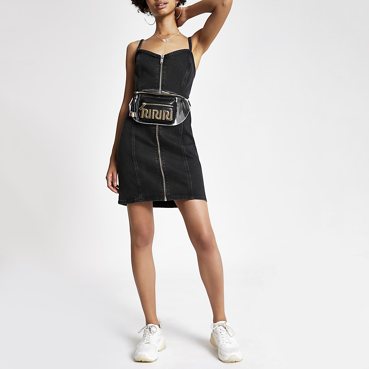 Black zip front denim mini dress