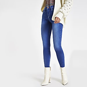 Bright blue contrast stitched Molly jeggings